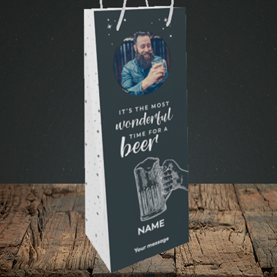 Picture of Time for a Beer, Christmas Design, Bottle Bag
