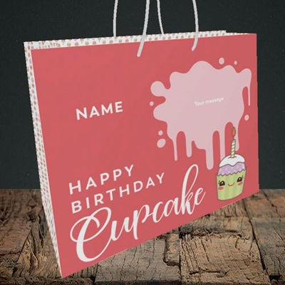 Picture of Cupcake(Without Photo), Birthday Design, Medium Landscape Gift Bag