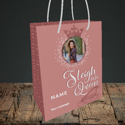 Picture of Sleigh Me Queen, Christmas Design, Small Portrait Gift Bag