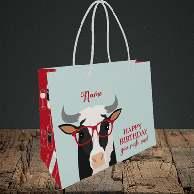 Picture of Cow, (Without Photo) Birthday Design, Small Landscape Gift Bag