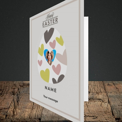 Picture of Egg Of Hearts, Easter Design, Portrait Greetings Card