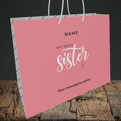 Picture of Soul Sister, (Without Photo) Birthday Design, Medium Landscape Gift Bag