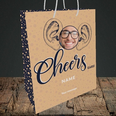 Picture of Cheers Ears, Thank You Design, Medium Portrait Gift Bag