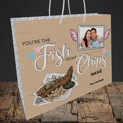 Picture of Fish To My Chips, Valentine's Design, Medium Landscape Gift Bag