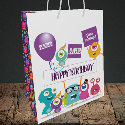 Picture of Monster, (Without Photo and editable age) Birthday Design, Medium Portrait Gift Bag