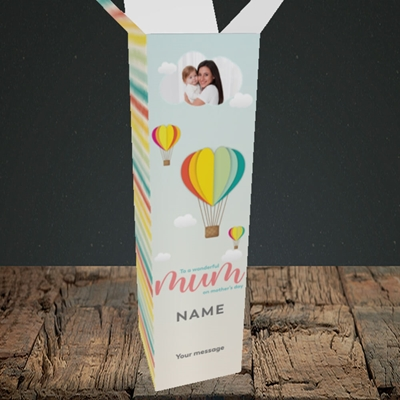 Picture of Hot Air Balloon, Mother's Day Design, Upright Bottle Box