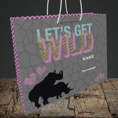 Picture of Let's Get Wild(Without Photo), Valentine's Design, Medium Landscape Gift Bag