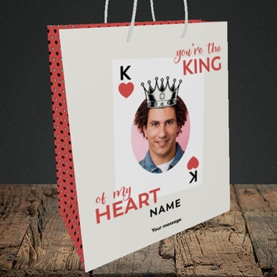 Picture of King Of My Heart, Valentine's Design, Medium Portrait Gift Bag