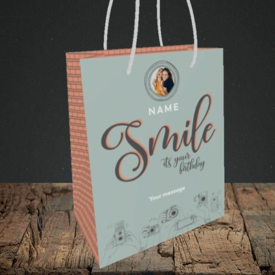 Picture of Camera Smile, Birthday Design, Small portrait Gift Bag