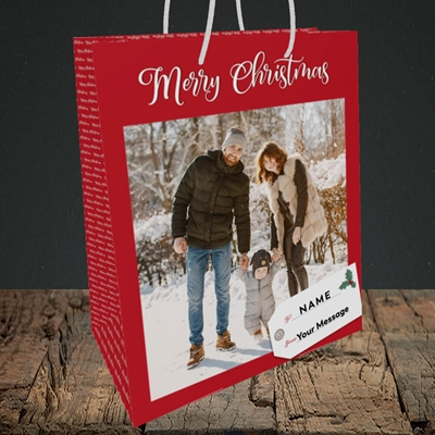 Picture of 1. A Merry Christmas, Large Photo, Christmas Design, Medium Portrait Gift Bag