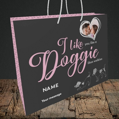 Picture of I Like Doggie, Valentine's Design, Medium Landscape Gift Bag