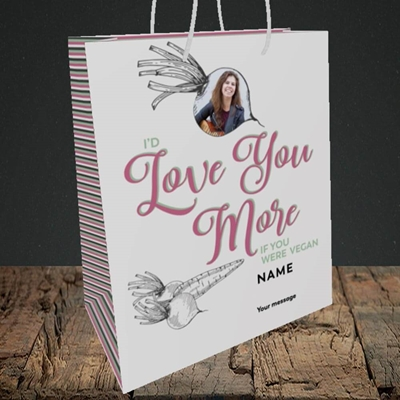 Picture of If You Were Vegan, Valentine's Design, Medium Portrait Gift Bag