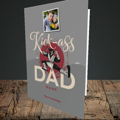 Picture of Kick-Ass Dad, Father's Day Design, Portrait Greetings Card