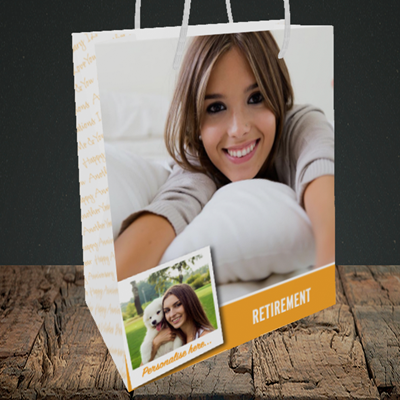 Picture of Photo, Retirement Design, Medium Portrait Gift Bag