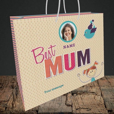 Picture of Best Mum, Medium Landscape Gift Bag