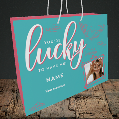 Picture of Lucky To Have Me, Valentine's Design, Medium Landscape Gift Bag