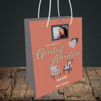 Picture of Greatest Adventure, Valentine's Design, Small Portrait Gift Bag