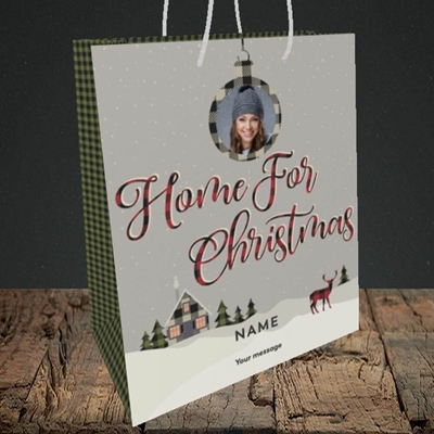 Picture of Home For Christmas, Christmas Design, Medium Portrait Gift Bag