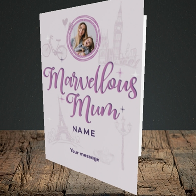 Picture of Marvellous Mum, Mother's Day Design, Portrait Greetings Card
