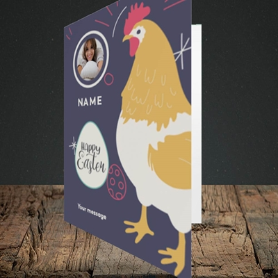 Picture of Easter Hen, Easter Design, Portrait Greetings Card