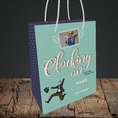 Picture of Clocking On, New Job Design, Small portrait Gift Bag