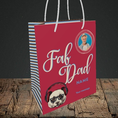 Picture of Fab Dad, Birthday Design, Small portrait Gift Bag