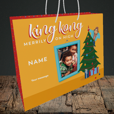 Picture of King Kong, Christmas Design, Medium Landscape Gift Bag