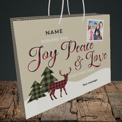 Picture of Joy Peace & Love, Christmas Design, Medium Landscape Gift Bag