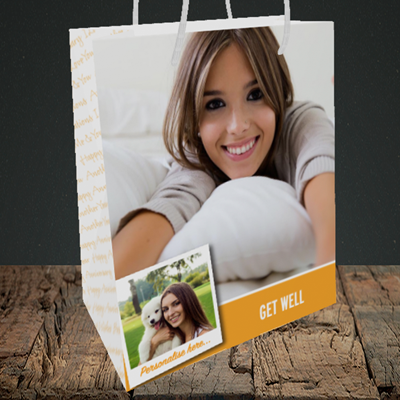 Picture of Photo, Get Well Design, Medium Portrait Gift Bag