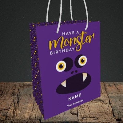 Picture of Monster Face(Without Photo), Birthday Design, Small Portrait Gift Bag