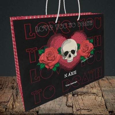 Picture of Love You To Death(Without Photo), Valentine's Design, Medium Landscape Gift Bag