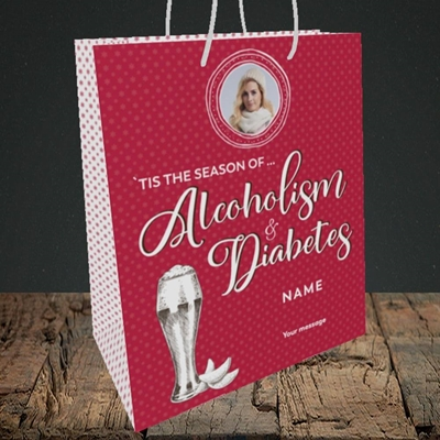 Picture of Alcoholism & Diabetes, Christmas Design, Medium Portrait Gift Bag