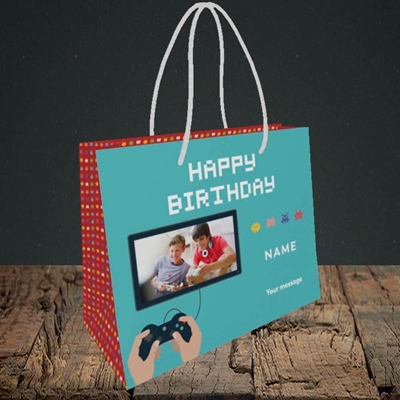 Picture of Space Invaders, Birthday Design, Small Landscape Gift Bag