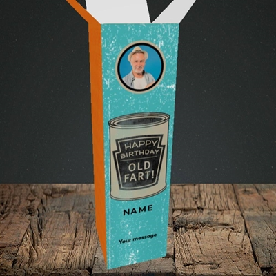 Picture of Tin Of Old Fart, Birthday Design, Upright Bottle Box
