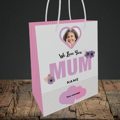 Picture of We Love Mum, Mother's Day Design, Small Portrait Gift Bag