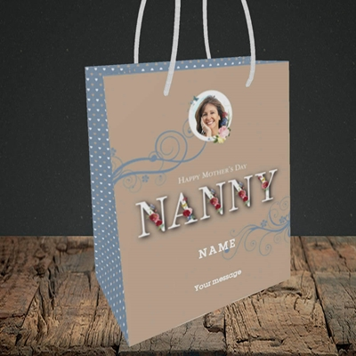 Picture of Nanny Floral Letters, Mother's Day Design, Small Portrait Gift Bag