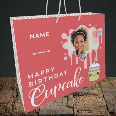 Picture of Cupcake, Birthday Design, Medium Landscape Gift Bag