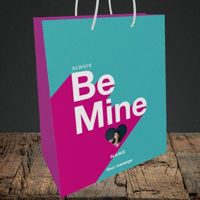 Picture of Always be Mine (type), Valentine's Design, Medium Portrait Gift Bag