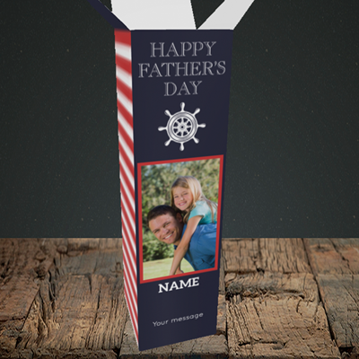 Picture of Nautical, Father's Day Design, Upright Bottle Box