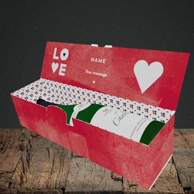 Picture of Love Type (stacked) (Without Photo), Valentine's Design, Lay-down Bottle Box
