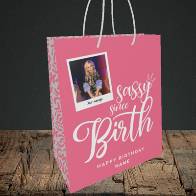 Picture of Sassy, Birthday Design, Small Portrait Gift Bag
