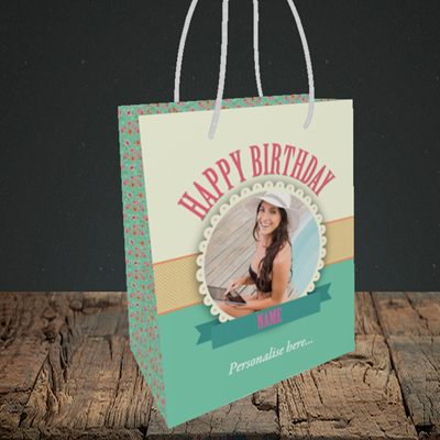 Picture of Roses, Birthday Design, Small Portrait Gift Bag
