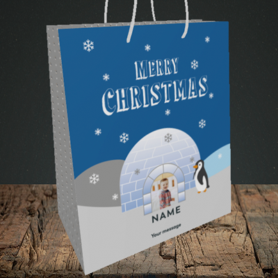 Picture of Igloo Penguin, Christmas Design, Medium Portrait Gift Bag