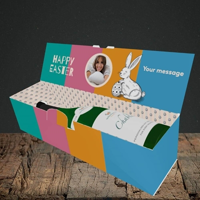 Picture of 4 Colour Bunnies, Easter Design, Lay-down Bottle Box