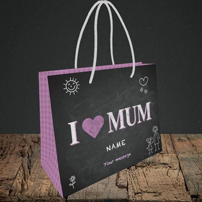 Picture of I Love Mum (Chalk Board),(Without Photo), Small Landscape Gift Bag