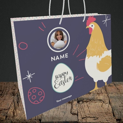 Picture of Easter Hen, Easter Design, Medium Landscape Gift Bag
