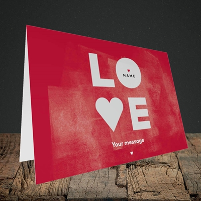 Picture of Love Type (stacked) (Without Photo), Valentine's Design, Landscape Greetings Card