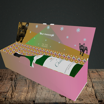 Picture of Tis The Frenchie(Without Photo), Christmas Design, Lay-down Bottle Box