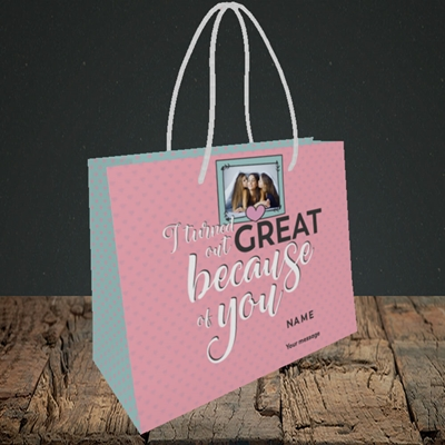 Picture of Because Of You, Mother's Day Design, Small Landscape Gift Bag