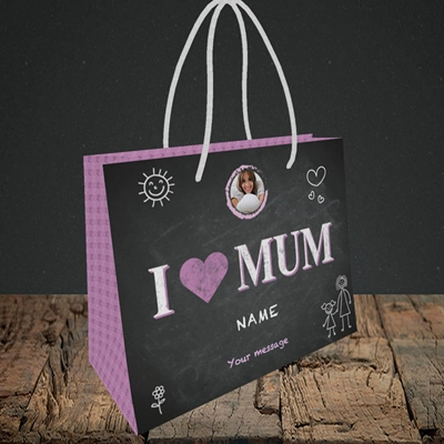 Picture of I Love Mum (Chalk Board), Small Landscape Gift Bag